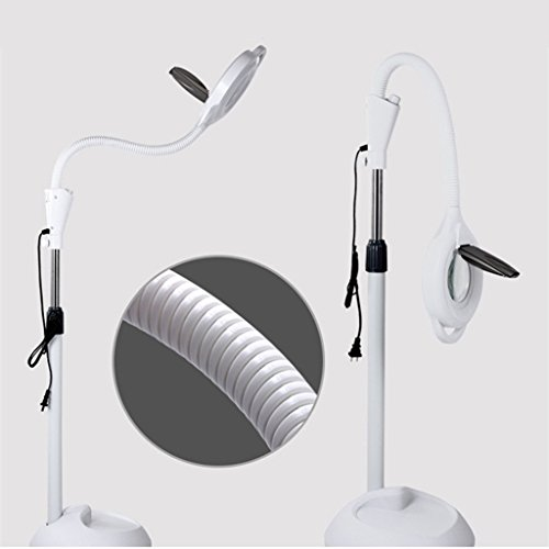 Yxx max Pendant Lights 8X Diopter LED Magnifying Light Floor Rooling Stand Lamp Magnifier Glass Len Facial Light with Adjustable Gooseneck Beauty Salon Jewelry Reading Light Indoor Hanging Lights -