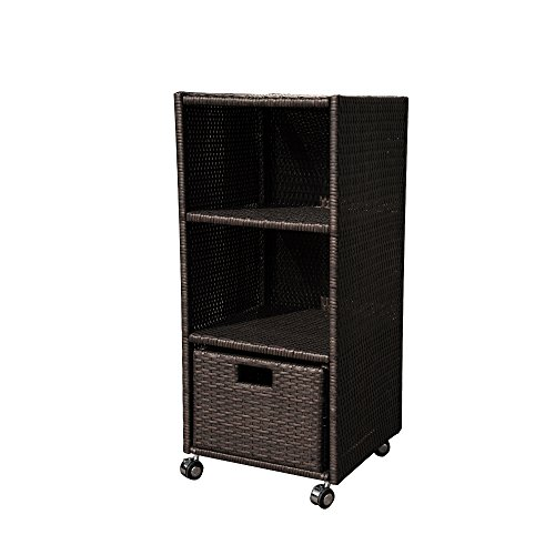 (Island Retreat NU2056 Towel Wheeled Tower Shelf, Black)