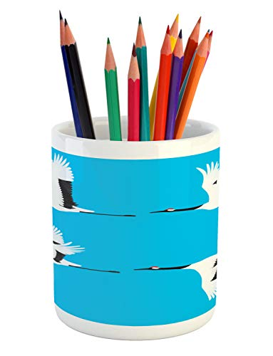 Lunarable Crane Pencil Pen Holder, Minimalist Illustration Flying Four White Storks Long Legs and Wings, Printed Ceramic Pencil Pen Holder for Desk Office Accessory, Azure Blue Black and White