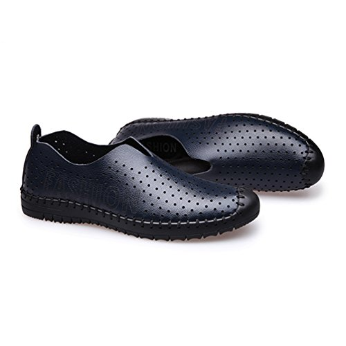 Fermé Cuir Bout Ourlet PU Chaussure Souple Respirent Manuelle Léger Mocassins Poreuse Creux Bleu Hommes Loafers Feidaeu Été Ultra ZvnAqBw
