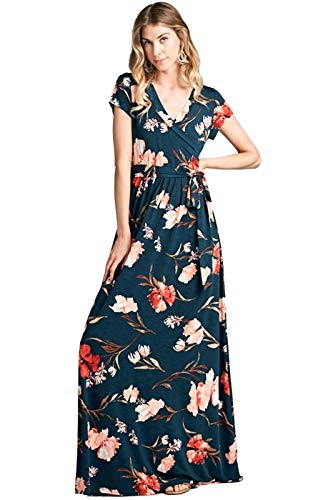 Bon Rosy Women's #MadeInUSA Short Sleeve V-Neck Printed Maxi Faux Wrap Floral Dress Summer Wedding Guest Party Bridal Baby Shower Maternity Nursing Hunter Green S