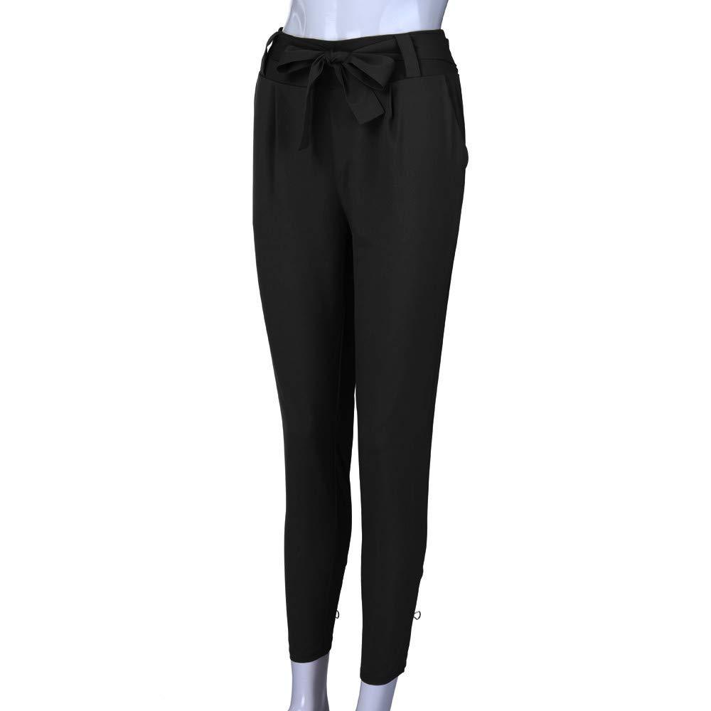 Risthy Mujer Pantalones Largos Ajustados Con Cinturon Pantalones Verano Mujeres Cintura Alta Pantalon De Oficina Color Solido Casual Suave Comodo Pantalones Deportivos