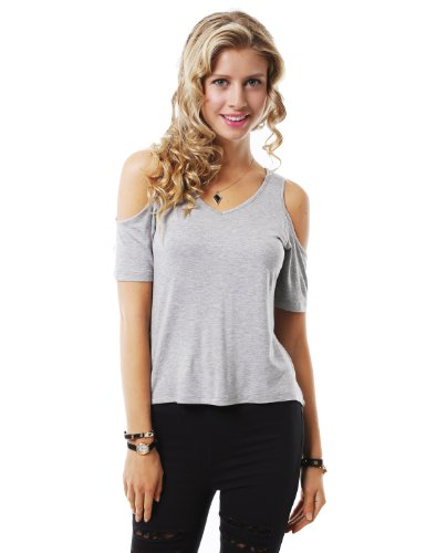 J.TOMSON Womens Deep V-Neck Short Sleeve Cut Out Shoulder Top HEATHER GRAY SMALL