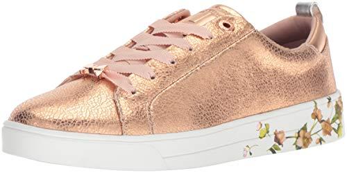 (Ted Baker Women's LUOCIA Sneaker, Rose Gold Crackle Leather, 8 Medium US)
