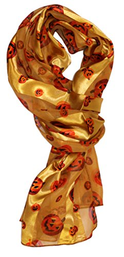 Ted and Jack - Festive Halloween Print Silk Feel Scarves in (Halloween Festive)