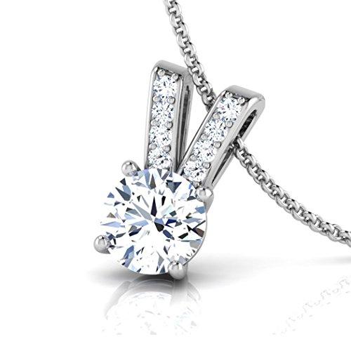 18K Or Blanc 0,48CT TW Round-cut-diamond (IJ | SI) Pendentif