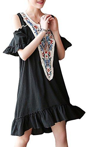 スコア原油粘り強いFoucome マタニティ ワンピース ロング丈 カジュアル 大きいサイズ 普段着 ゆったり 夏 半袖 デコルテ 刺繍 ブラック XL