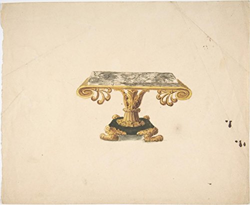 Fine Art Print | British, 19th Century | Design for a Marble Topped Table with Gilded Pedestal and Lion's Feet | Vintage Wall Art | 24in x 18in