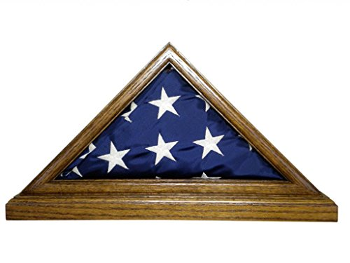 Solid Oak Flag Case WITH BASE for 3 x 5' Nylon Military Missions or Capital size Flag, USA Made ()