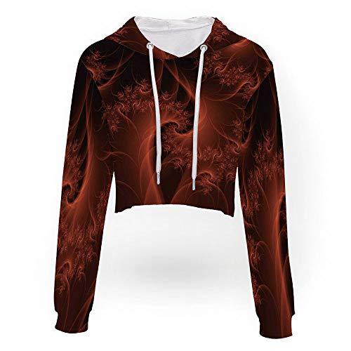 Women's Long Sleeve Sweatshirt,Burnt Orange,Sport Crop Top Sweatshirt Jumper Pul