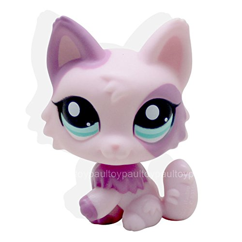 #2100 Rare Littlest Pet Shop LPS Toys Purple & Pink Pink Wolf Fox Blue Eyes Dog ()