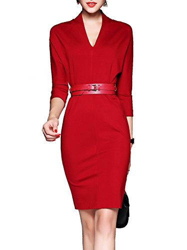 MissLook Womenu0026#39;s Vintage V Neck Office Work Business Bodycon - Import It All