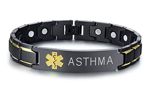Asthma Symptoms - Asthma Black Ion Plated Stainless Steel Magnetic Therapy Health Emergancy Medical Alert ID Bracelets for Men Dad,8.6