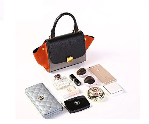 main souris fourre cuir épaule orange diagonale couleur chauve Hit paquet gray tout élégant sac en Black à Femmes sac épaule qtxn1aWwP