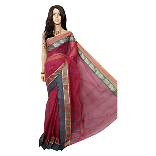 - Bengal Traditional Hand Loom Sari Pure Cotton Saree, with Blouse Indian Ethnic wear 102