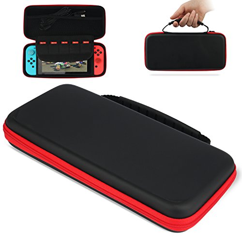 Carry Case for Nintendo Switch, Protective Hard Portable Travel Carrying Case Shell Pouch Compatible with Nintendo Switch Console & Accessories (Black)