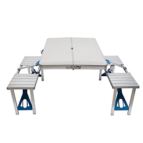 ROKOO Aluminum Folding Camping Table Portable Outdoor Suitcase Picnic Table with 4 Connected Seats
