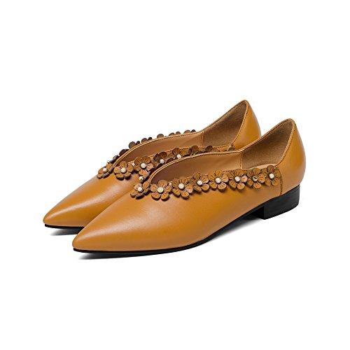 Brown Mei Mujer amp;S Boca Light Toe Señaló Zapatos La Plana Superficial Casual xxZr6Pw