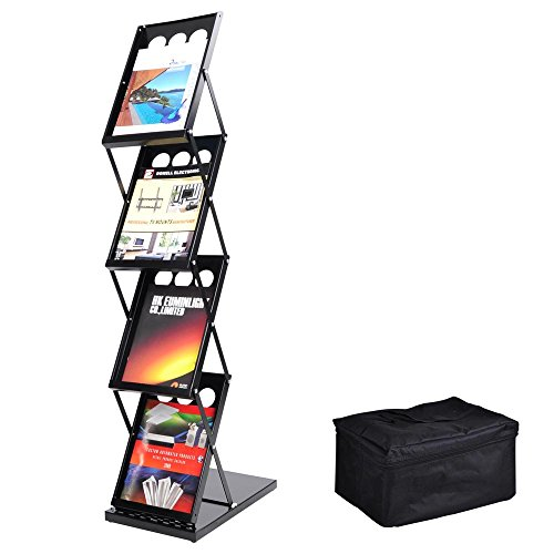 Yescom Portable Pop Up 4 Pocket Magazine Brochure Literature Catelog Holder Rack Stand Tradeshow Display w/Carrying Bag