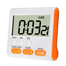 ELEGIANT Foldable Stand Magnetic Kitchen Large LCD Digital Timer Alarm Count Up Down Clock 24 Hours Yellow