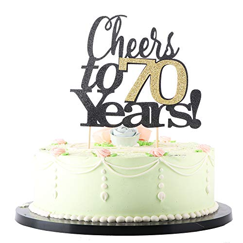 LVEUD Black Font Golden Numbers Cheers to 70 Years Happy Birthday Cake Topper -Wedding,Anniversary,Birthday Party Decorations (70th)