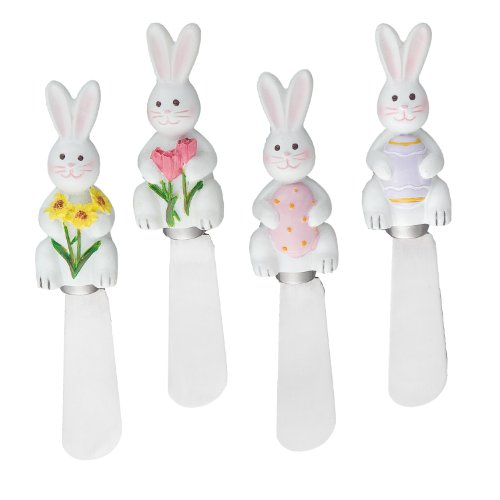 Wine Things Easter Bunny Resin Cheese Spreaders (Set of 4), White