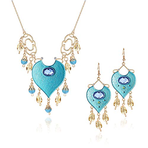 Jasmine Costumes For Adults (Vinjewelry Princess Jasmine Costumes Teal Necklace & Earrings Genie Magic Accessory Supplies for)