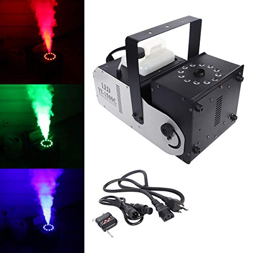 Tengchang DMX Smoke Fog Machine RGB w/Remote 12 LED 1500W 3 in 1 Spray Angle Adjustable