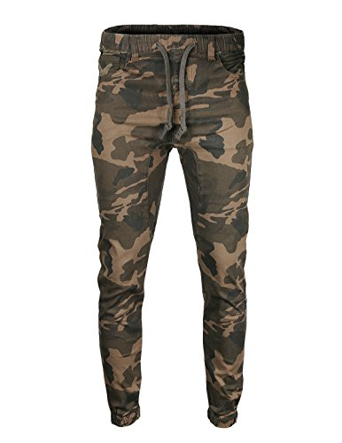 ZIMEGO Men's Drop Crotch Comfort Stretch Twill Jogger Camo Pants (Pants Hem Cuff)