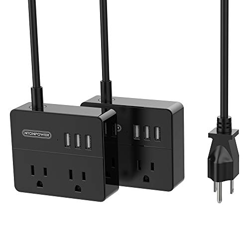 2 Pack Power Strip for Cruise Ship, NTONPOWER Desktop Charging Station 2 Outlets 3 USB Ports with 5 Ft Cord, Black