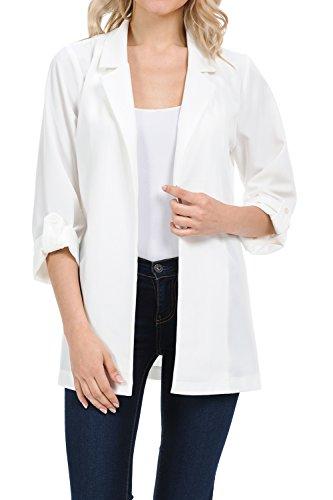 Auliné Collection Womens Casual Oversized Open Front Boyfriend Cardigan Blazer Off White Medium