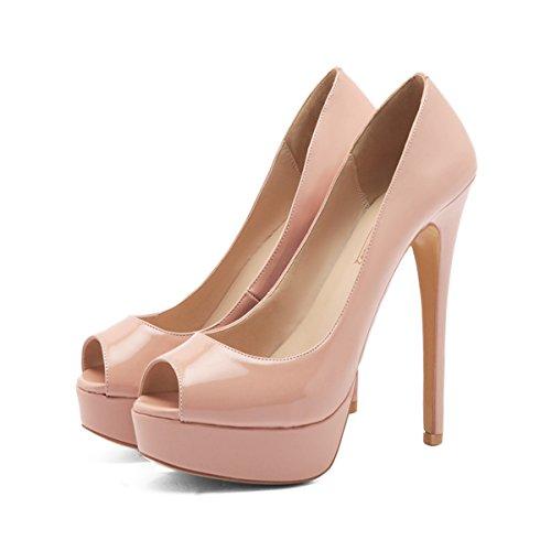 On Dress Peep Toe Platform Heels Sexy Wedding Party Slip Nude Shoes onlymaker Stiletto High Pumps Women's xnWAUwAq0