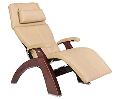 """Perfect Chair """"PC-500 Silhouette"""" Top Grain Leather Zero Gravity Hand-Crafted Dark Walnut Recliner"""