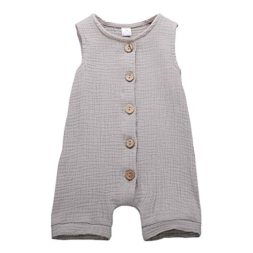 Infant Newborn Baby Boys Girls Cotton Linen Romper Summer Jumpsuit Sleeveless Overalls Clothing Set (Gray, 12-24 - Cotton Boys Overalls