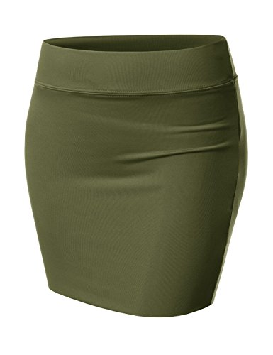 NEARKIN (NKNKW3S Beloved Womens Waistband Double Elastic Layered Mini Skirt Khaki US S(Tag Size M)