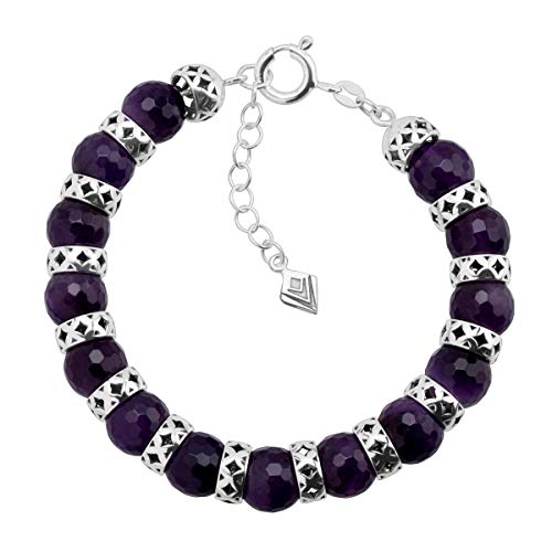 Silpada 'Midnight Maven' 50 ct Natural Amethyst Bead Bracelet in Sterling Silver