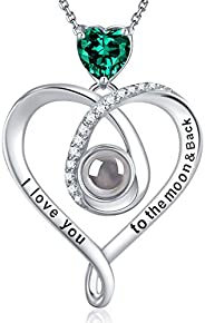 Sterling Silver I Love You Necklace 100 Languages March April Birthstone Aquamarine Simulated Diamond Emerald