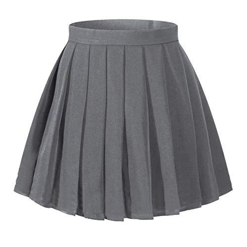 (Beautifulfashionlife Women`s School Uniform Short Mini High Waist Flat Pleated Skirts (4XL ,Dark Grey))