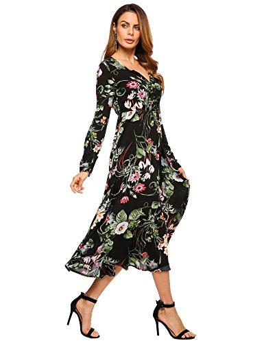 Zeagoo Women Button Up V Neck Empire Waist Long Sleeve Floral Print Long Dress Black Small