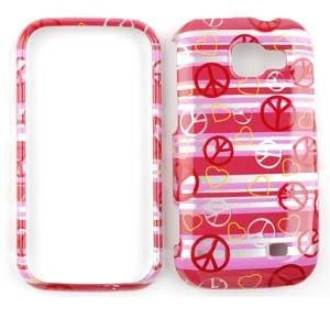 SAMSUNG TRANSFORM M920 Transparent Design Peace Signs and Hearts on Pink HARD PROTECTOR COVER CASE / SNAP ON PERFECT FIT (M920 Snap)