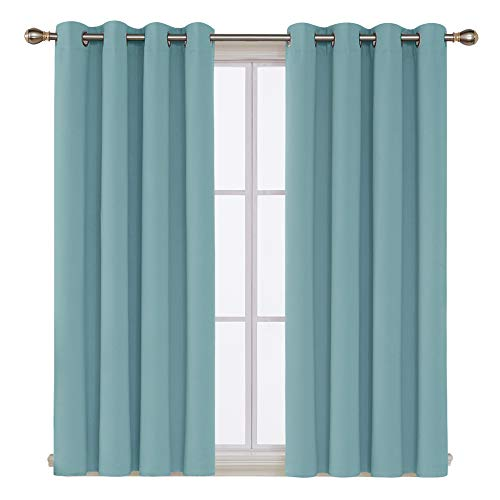 Deconovo Grommet Top Blackout Curtains Window Panels Thermal Insulated Blackout Curtains for Nursery Room 52x54 Inch Teal 2 Panels (Teal Grommet Curtains)