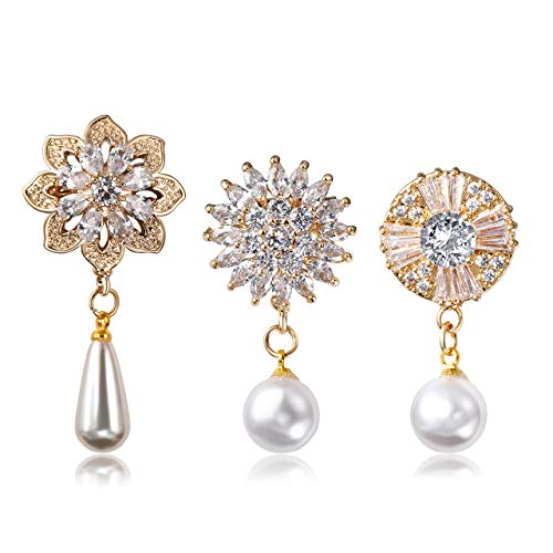 Jovivi 3pcs Clear Cubic Zirconia Crystal Gold Floral Round Charm Safety Pin Brooches Suit Sweater Scarves Scarf Brooch Pins ()