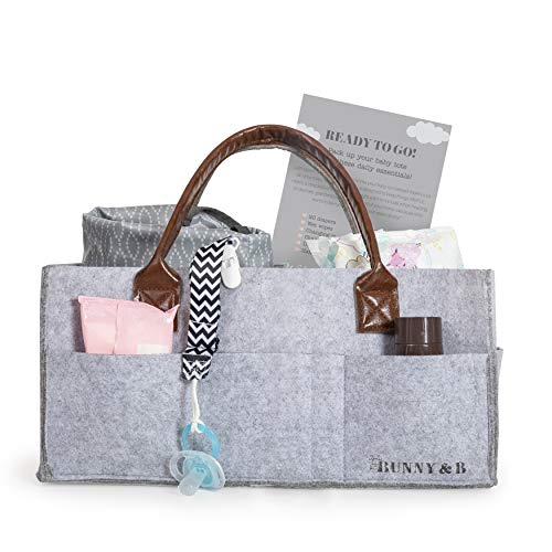 New Baby Diaper Caddy by Bunny&B | Baby Organizer Tote Plus Free Pacifier Clip and Checklist | Multipurpose Baby Bag for Boys and Girls | Perfect Shower Gift for Baby Registry | New Dad Essentials
