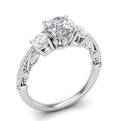 White Gold Vintage Three Stone Engagement Ring Unique Filigree Milgrain Art Deco Ring Round Forever One Colorless Ring Her Moissanite Ring 14K