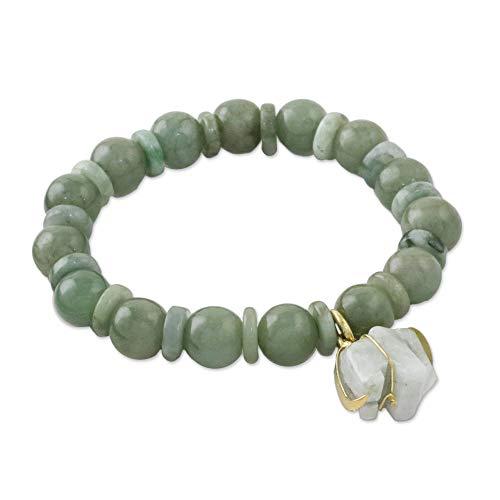NOVICA Jade 18k Yellow Gold Plated .925 Sterling Silver Beaded Bracelet 'Jade Elephant'
