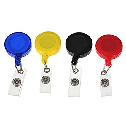 Cikuso Juego de 4 piezas Soporte de la insignia con clip carrete retractil YOYO Boton de Clip de Snap para llave tarjeta de identificacion