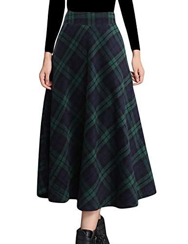 Tanming Women's Winter Warm Elastic Waist Wool Plaid A-Line Pleated Long Skirt (Green2, ()