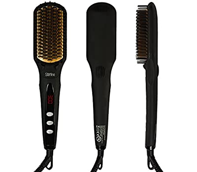 Sterline Professional Electronic Hair Brush Straightener for Hair Straightening, Comb Straightener, 450F Max, Black / Gold
