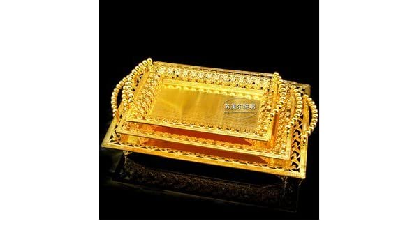 Amazon.com | rectangle metal serving tray storage plate bandeja decorativa for wedding hotel restaurant event gold large trays FT009 [small size]: ...