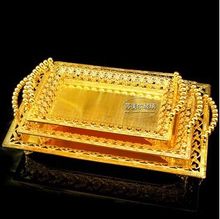 rectangle metal serving tray storage plate bandeja decorativa for wedding hotel restaurant event gold large trays